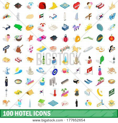 100 hotel icons set in isometric 3d style for any design vector illustration