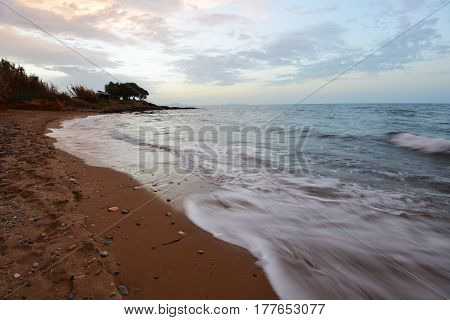 beach on sea shore. sea wave sand