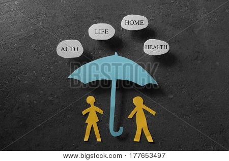 Paper couple under an umbrella with Auto Health Life and Home bubbles -- insurance concept
