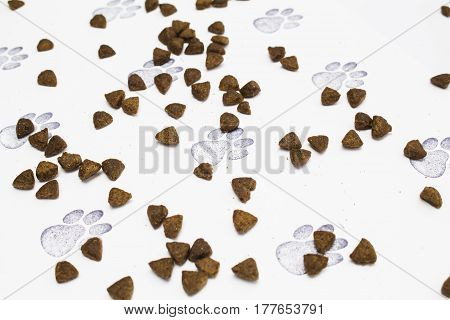 Pet biscuits on a paw print background