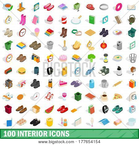 100 interior icons set in isometric 3d style for any design vector illustration