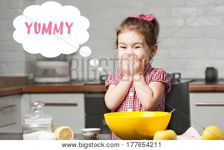 cute little girl baker on kitchen with baking ingredients with speech bubble