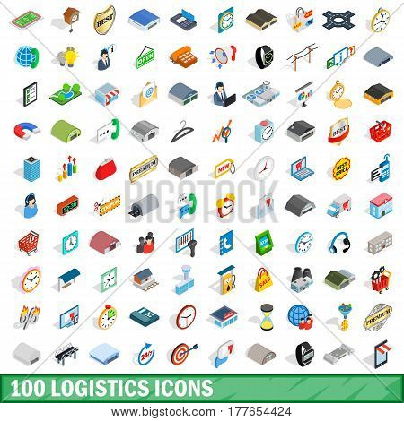 100 logistics icons set in isometric 3d style for any design vector illustration