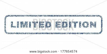 Limited Edition text textile seal stamp watermark. Blue jeans fabric vectorized texture. Vector caption inside rounded rectangular shape. Rubber sign with fiber textile structure.