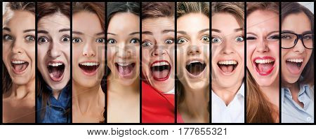 The collage of young woman smiling and surprised face expressions