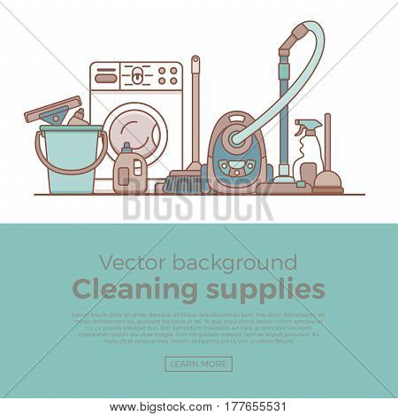 Household cleaning supplies isolated icons set in outline flat style. Washing tools vector cartoon page template . Graphic concept for web sites, banner, mobile apps, infographics.