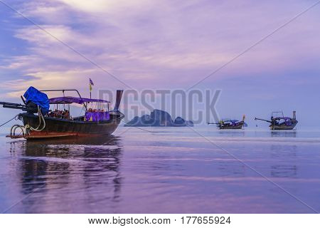 sunset on the Andaman sea , Krabi province, Thailand, Asia