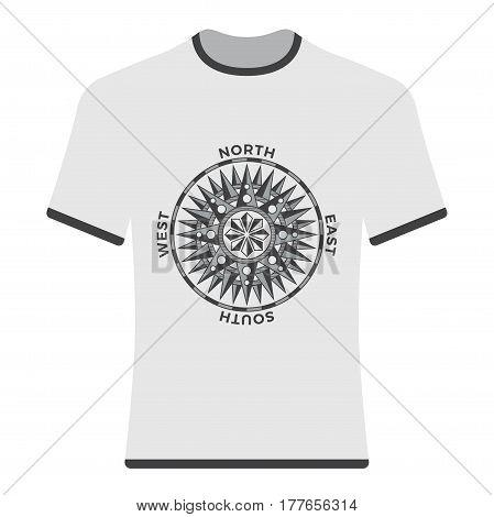Vintage old compass rose t-shirt. Vector illustration.