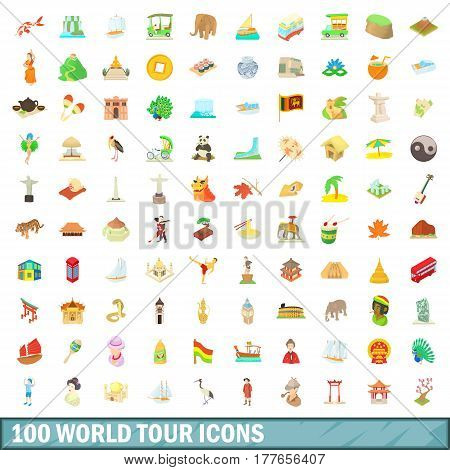 100 world tour icons set in cartoon style for any design vector illustration
