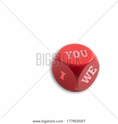 Motivation dice with three words Isolated