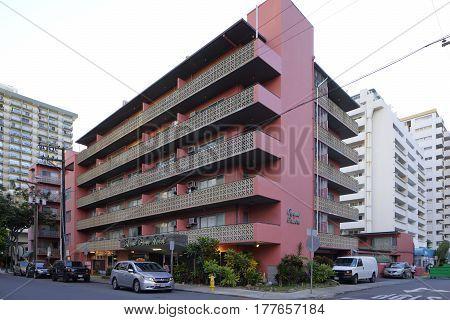 WAIKIKI USA - FEBRUARY 17 2017: Stock photo of the Royal Grove Hotel Waikiki Beach in Waikiki Beach Oahu Hawaii USA