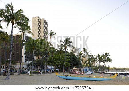 HONOLULU, USA - FEBRUARY 15, 2017: Stock photo of a beach scene on Waikiki Beach Oahu Hawaii