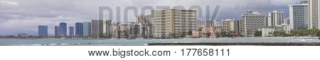 Stock photo Waikiki Beach Hawaii panoramic USA