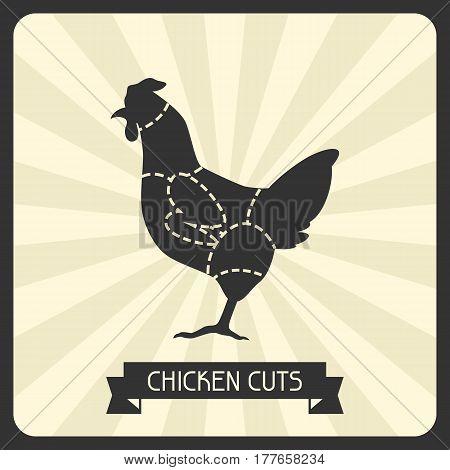 Chicken cuts. Butchers cheme cutting meat illustration.