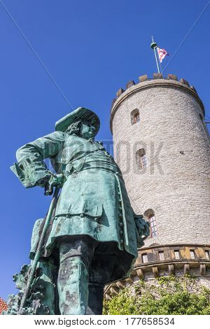 Statue And Tower Of The Sparrenberg Castle In Bielefeld