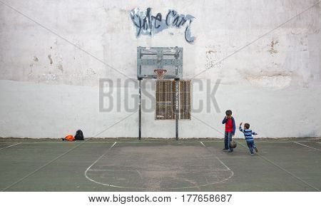Kids Playing Basketball In Nyc