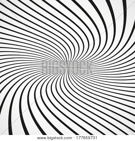 Abstract sunbeams spiral background. Black sunbeams on white background. Vector illustration. Abstract art background