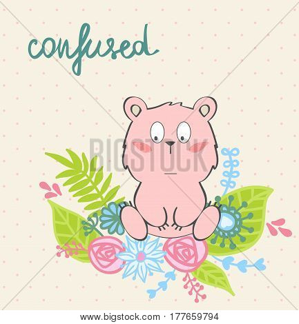 Confused. Vector illustration of a cartoon bear.