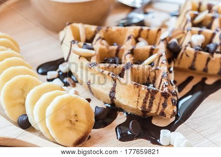 Delicious Sweet Dessert : Homemade Waffle With Chocolate Sauce