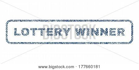 Lottery Winner text textile seal stamp watermark. Blue jeans fabric vectorized texture. Vector tag inside rounded rectangular banner. Rubber emblem with fiber textile structure.