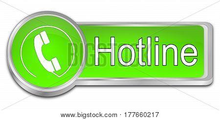 glossy green Hotline Button - 3D illustration