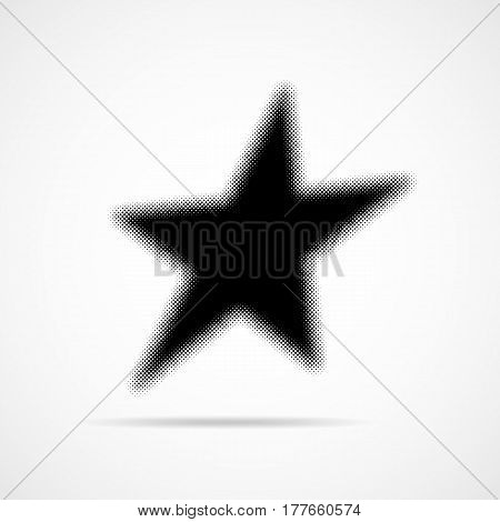 Halftone star icon. Vector illustration. Black flat star in halftone design.