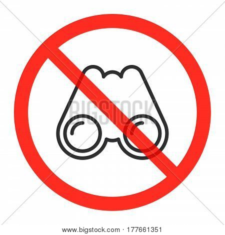 Binoculars line icon in prohibition red circle Spying is not allowed ban sign forbidden symbol. Vector illustration isolated on white