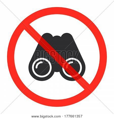 Binoculars icon in prohibition red circle Spying is not allowed ban sign forbidden symbol. Vector illustration isolated on white