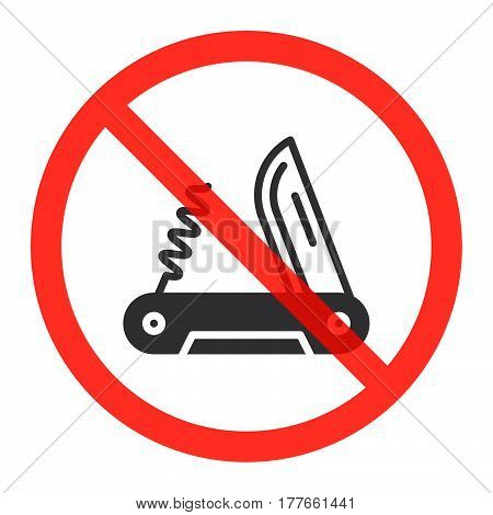Multi tool knife icon in prohibition red circle ban sign forbidden symbol. Vector illustration isolated on white