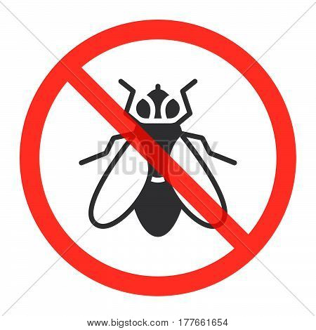 Fly icon in prohibition red circle No insects ban sign forbidden symbol. Vector illustration isolated on white