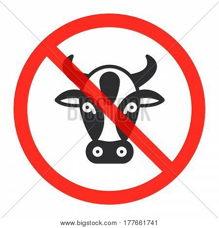 Cow head icon in prohibition red circle No milk and lactose ban sign forbidden symbol. Vector illustration isolated on white