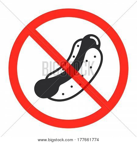 Hot dog icon in prohibition red circle No fast food ban sign forbidden symbol. Vector illustration isolated on white