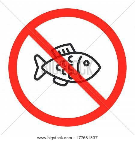 Fish line icon in prohibition red circle No fishing ban sign forbidden symbol. Vector illustration isolated on white