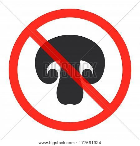 No mushrooms ban sign icon in prohibition red circle forbidden symbol. Vector illustration isolated on white