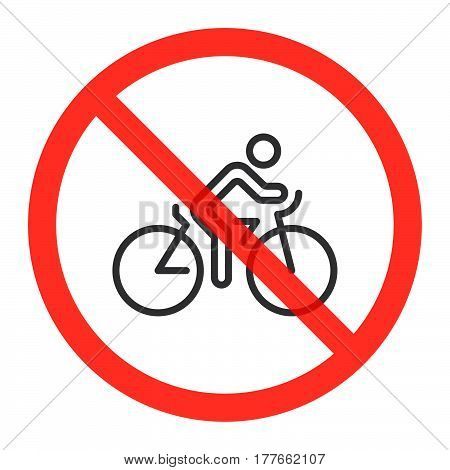 Cyclist line icon in prohibition red circle Cycling ban or stop sign forbidden symbol. Riding bike or bicycle is not allowed image. Vector illustration isolated on white