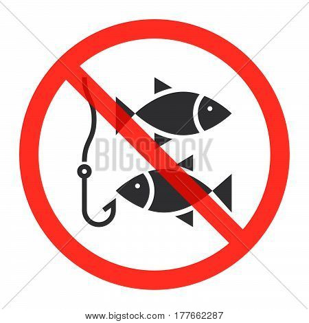 Fishing icon in prohibition red circle No ban or stop sign forbidden symbol. Vector illustration isolated on white