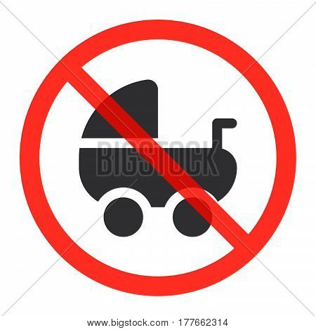 Stroller pram icon in prohibition red circle No baby carriage ban or stop sign forbidden symbol. Vector illustration isolated on white