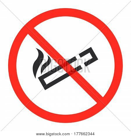 Cigarette line icon in prohibition red circle No smoking ban or stop sign forbidden symbol. Vector illustration isolated on white