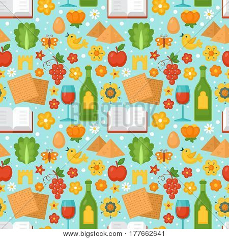 Jewish Holiday Passover Seamless Pattern For Graphic And Web Design. Vector Illustration