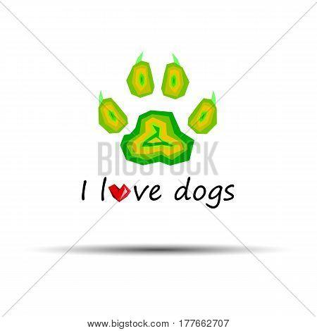 dog footprint print paw foot shape illustration pet animal heart