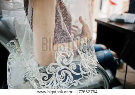 Bride With Veil Lace Sitting At Chair On Beayty Salon.