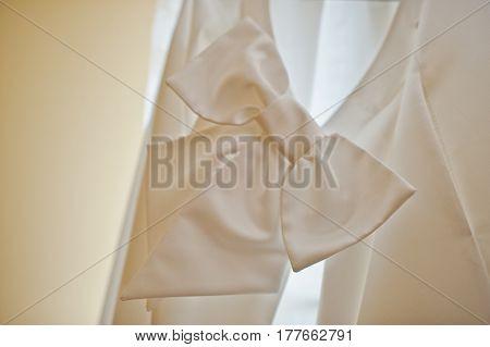Bow Of Back Of White Wedding Dress At Light.