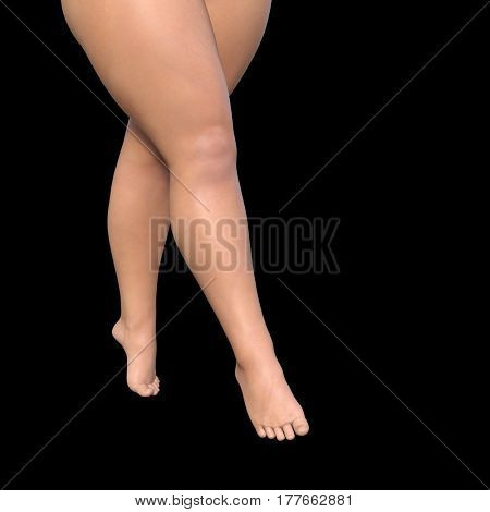 Conceptual big fat overweight obese young woman body, cellulite female legs isolated on background metaphor to weight loss, body fitness, fatness obesity, health 3D illustration healthy dieting shape