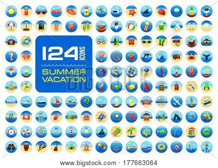 Summer vector icon set. Beach. Travel. Summertime. Vacation eps 10