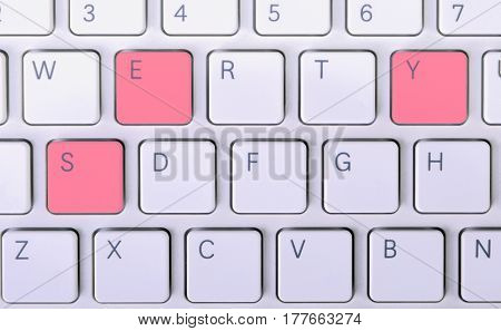 The word Yes on the laptop keyboard