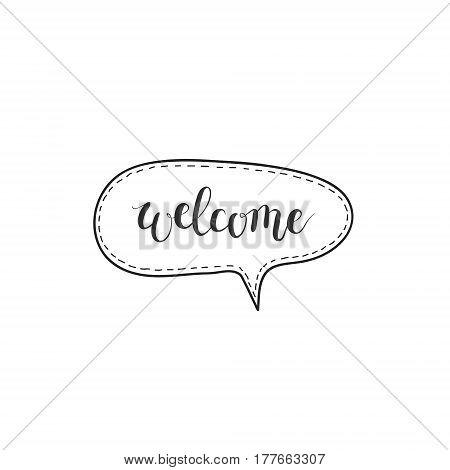 Welcome vector hand-written word in a speech bubble design