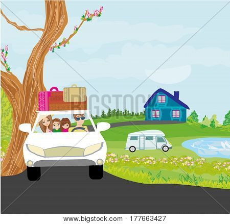 family traveling in a car , vector illustration