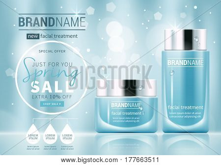 Facial Treatment Cream Glass Jars Set Realistic Vector Illustration Isolated On Blue Bokeh Backgroun