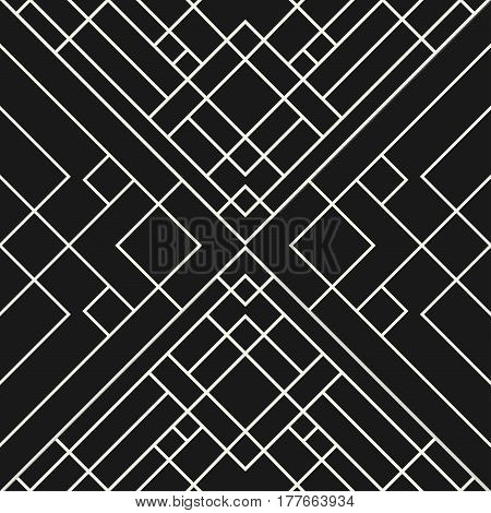 Abstract grid black background - seamless geometric pattern.
