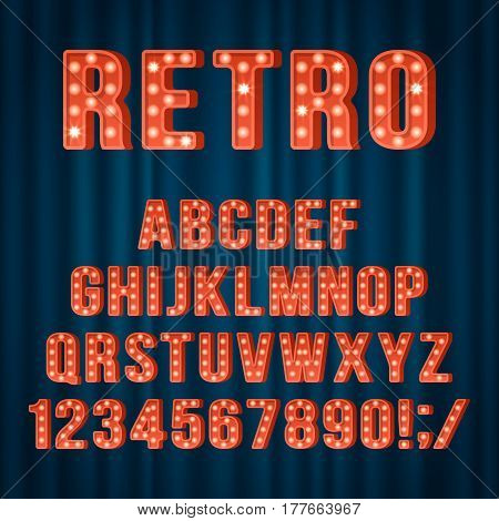 Retro Light Bulb Alphabet Letters And Numbers For Movie Cinema Or Night Club Sign Design. Realist Ve